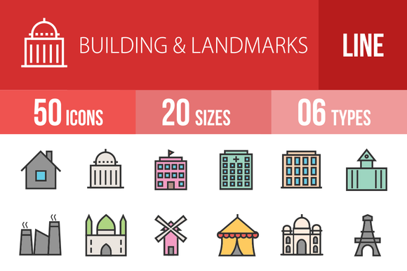50 Buildings Filled Line Icons