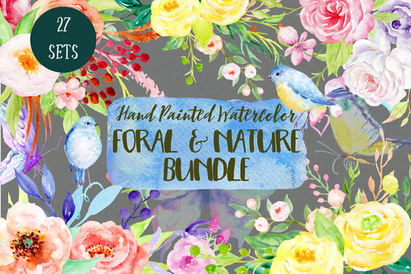 Watercolor Bundle Floral And Nature