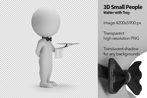 3D Small People Waiter With Tray