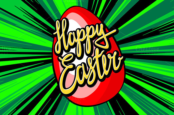 happy easter lettering. rays vector - Graphics