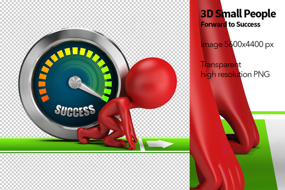 3D Small People Forward To Success