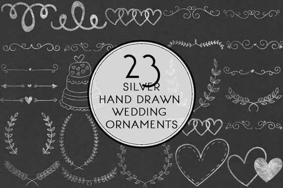 Silver Hand Drawn Wedding Ornamenst