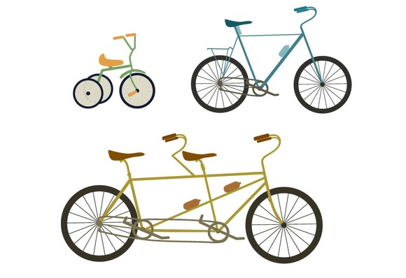 Bicycle Tandem Bike Vector Set