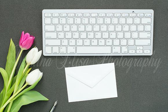 Styled Card Mockup Black Desk Tulip