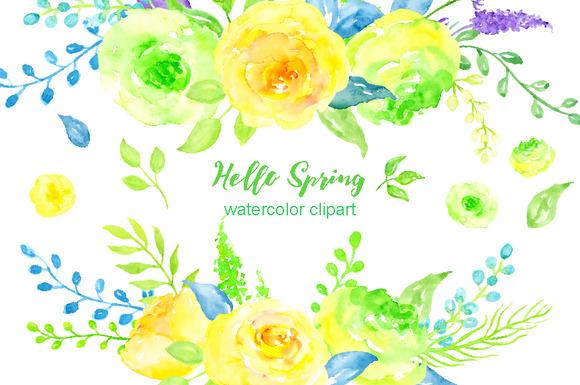 Watercolor Clipart Hello Spring