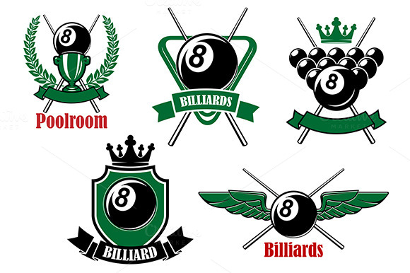 Pool Snooker And Billiards Icons