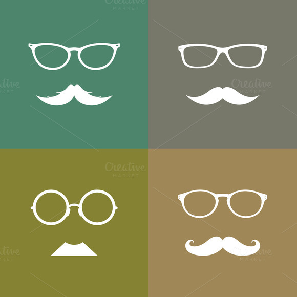 Group Of An Glasses And Mustache