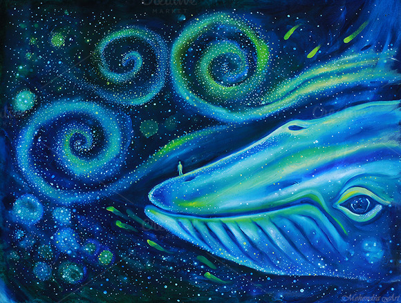 Blue Whale And Human Into The Space