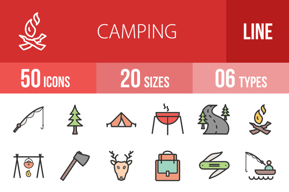 50 Camping Filled Line Icons