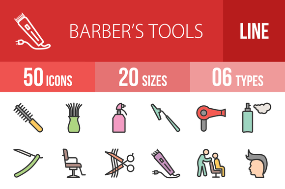 50 Barber S Tools Filled Line Icons
