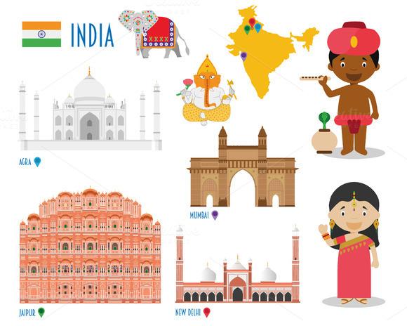 India Flat Icon Set Travel