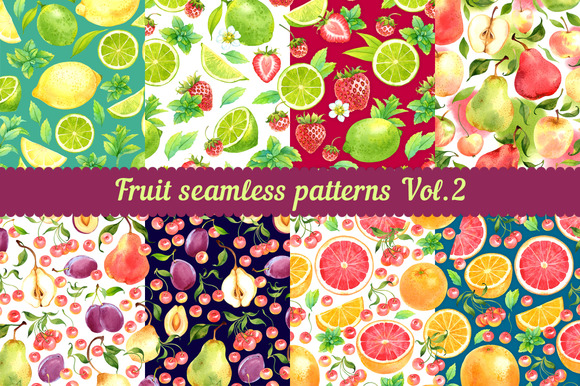 Fruit seamless patterns Vol. 2 - Patterns