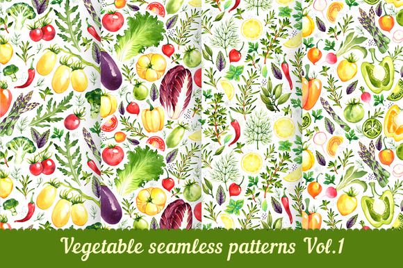 Vegetable seamless patterns Vol. 1 - Patterns