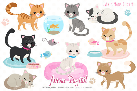 Cute Kittens Clipart + Vectors ~ Illustrations on Creative ...