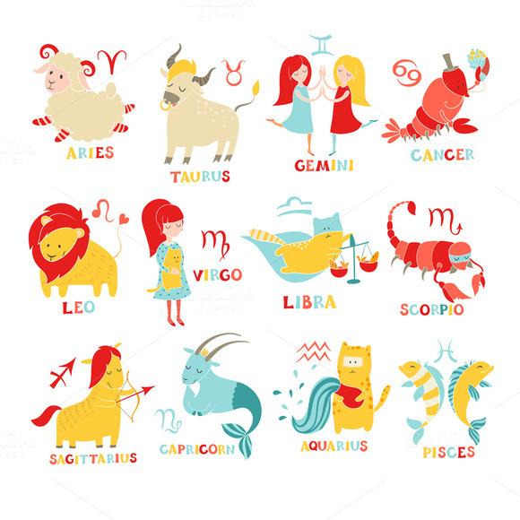 Funny zodiac set. Hand drawn - Illustrations