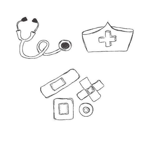 Medical Objects Sketch Icons