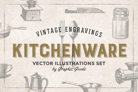 84 Kitchen Tools Vintage Engravings