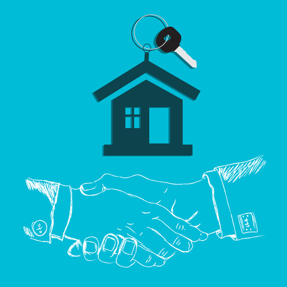 House Key Handshake Design Flat