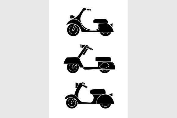 Transport Icons Scooter And Moped