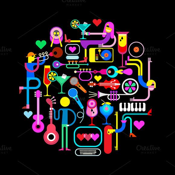 Music Party Round Illustration