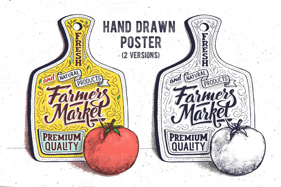Farmer market. Hand lettering poster - Illustrations