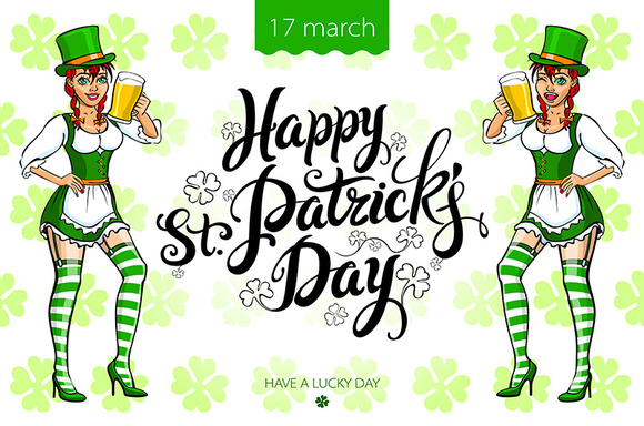 girl with beer, St. Patrick's Day - Graphics