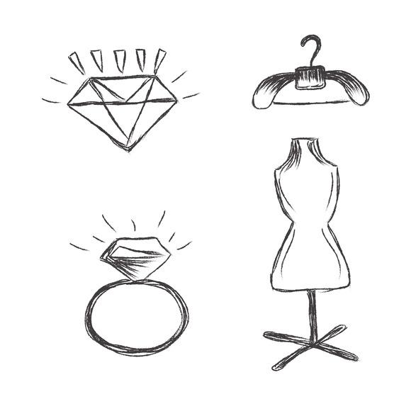 Fashion Sketch Elements Icons
