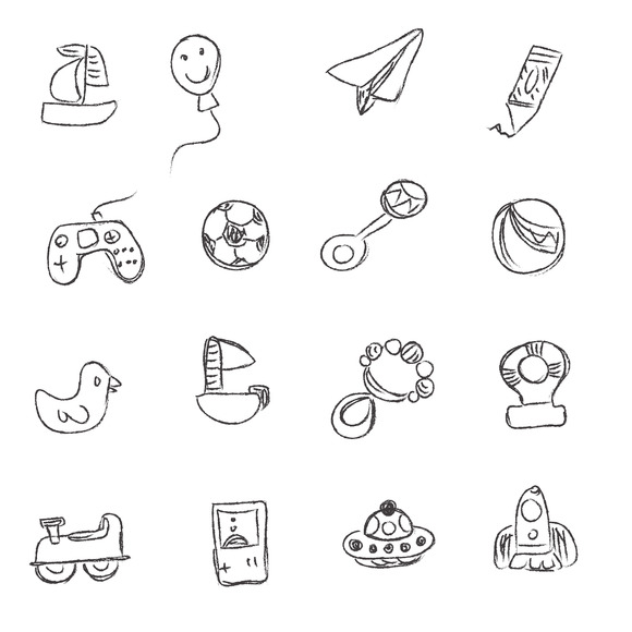 Toys Sketch Icons Vector