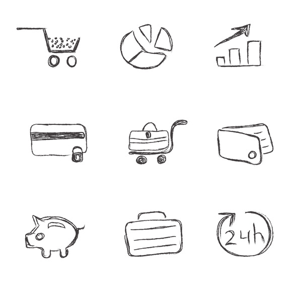 Business Icon Sketch Set
