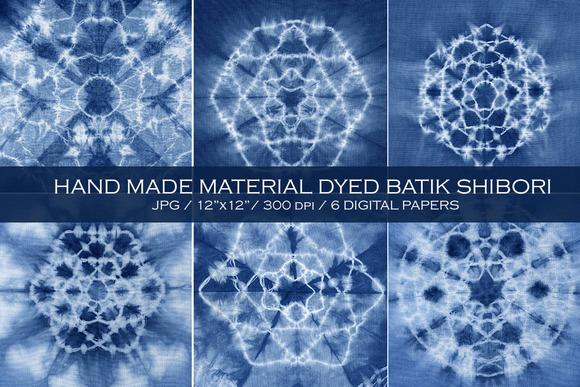 Material dyed batik. Indigo.Shibori - Graphics