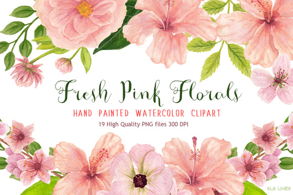 Pink floral watercolors illustrations on creative market - High resolution watercolor flowers ...