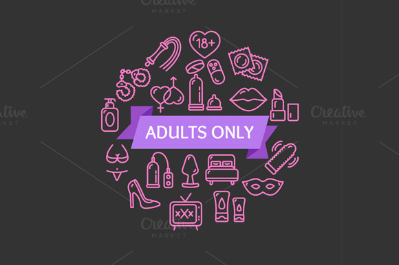 Adults Only Concept. Vector - Illustrations