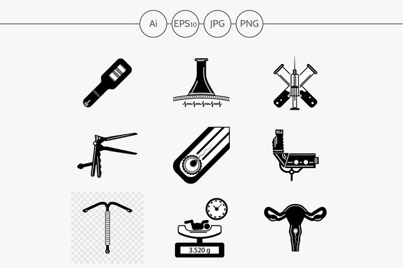 Gynecology black design icon. Part 2 - Icons