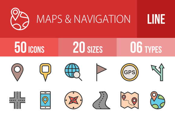 50 Maps Navigation Line Filled Icons