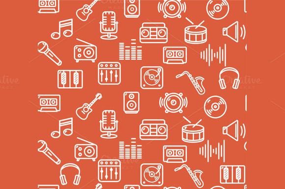 Music Background Outline Icon Set