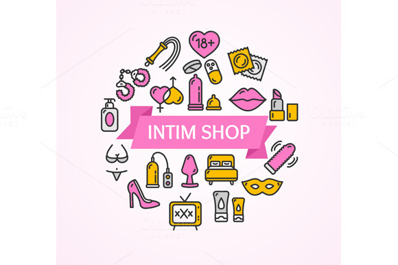 Intim or Sex Shop Concept. Vector - Illustrations