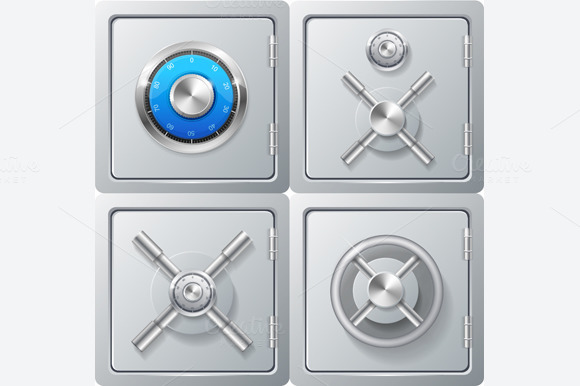 Realistic Metal Safe Set. Vector - Objects