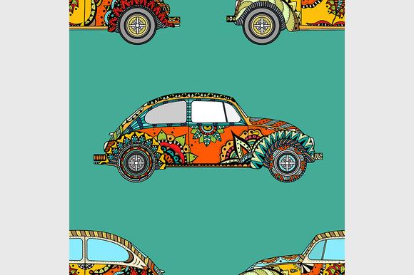Seamless Pattern Of Vintage Car