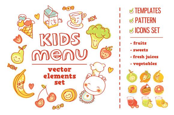 Kids Menu BIG Vector Elements Set