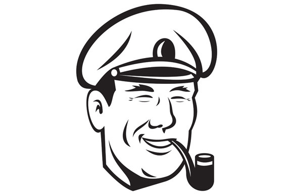 Sea Captain Smiling Smoke Pipe Retro