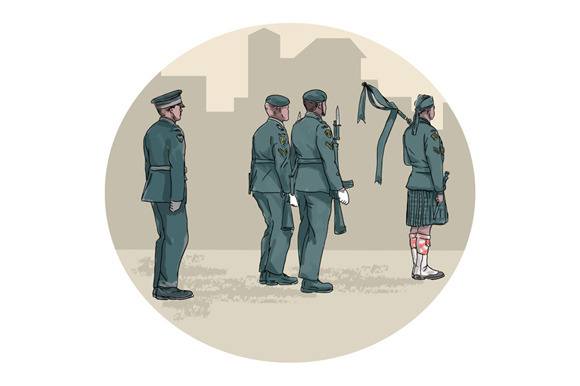 Soldier Bagpiper Marching Circle