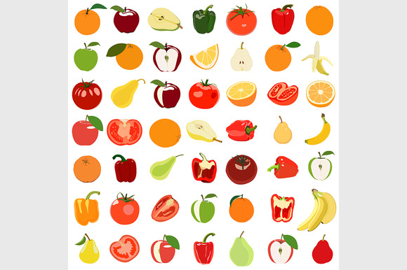 Set Of Colored Fruits