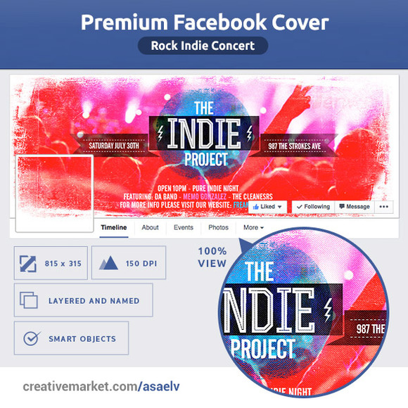50% OFF- Indie Rock Concert FB Cover