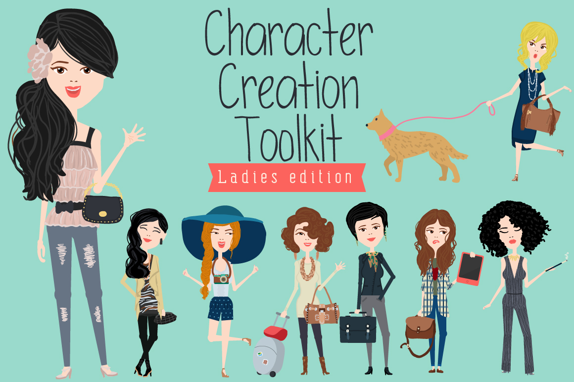 Character Design Animation Toolkit Free : Character creation toolkit ladies illustrations on