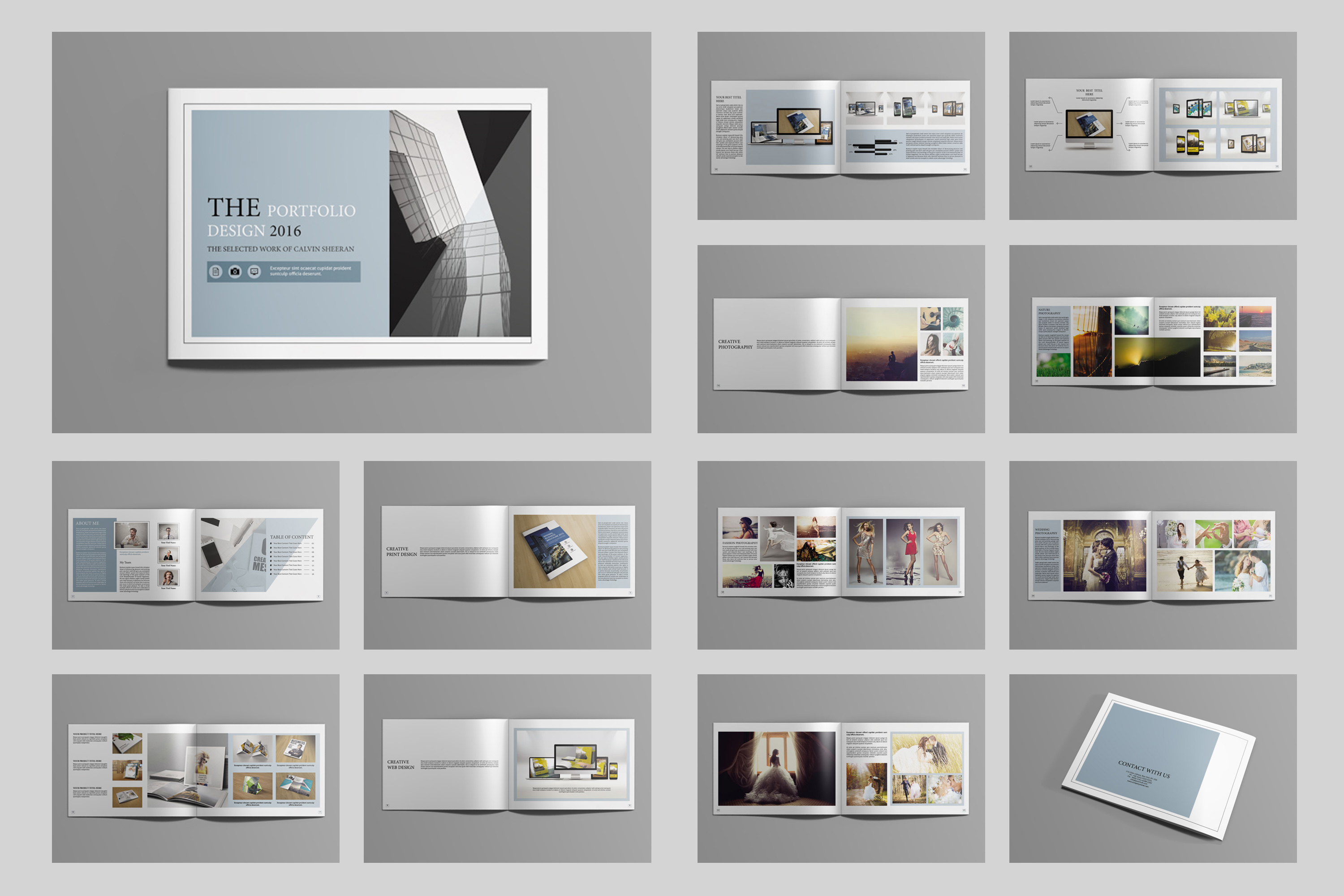 Indesign portfolio brochure v419 brochure templates on creative market for Free indesign portfolio templates