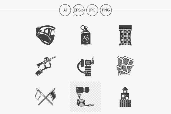 Paintball black design icons. Set 2 - Icons