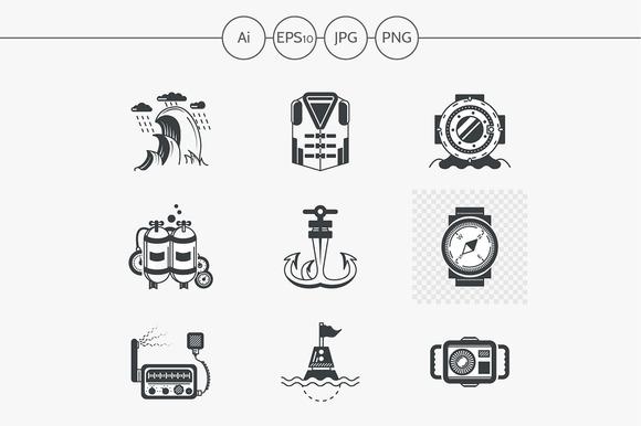 Diving black design icons. Set 4 - Icons