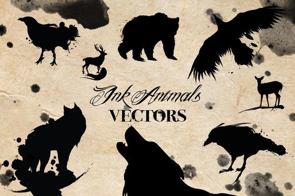 Ink Animals Vectors