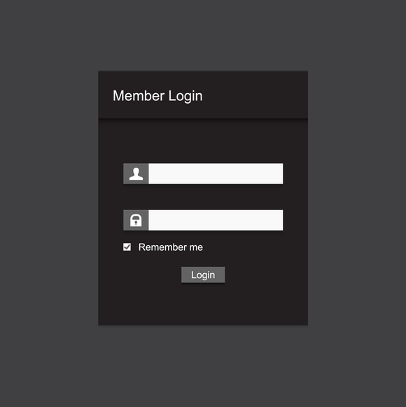 Simple Gray Member Login