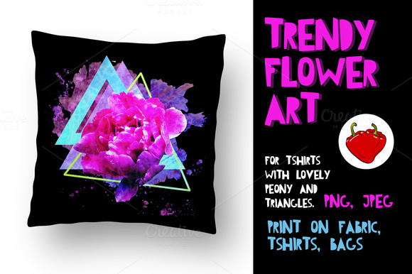 Trendy flower print. Adorable Peon. - Illustrations